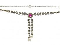 Paste & Silver Double Drop Edwardian Necklace