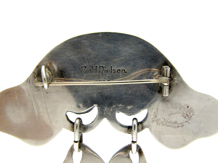 Evald Nielsen Amber & Silver Brooch