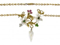 Suffragette Green Garnet, Diamond, Ruby & Natural Pearl Necklace