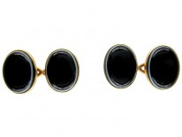 18ct Gold & Banded Onyx Cufflinks