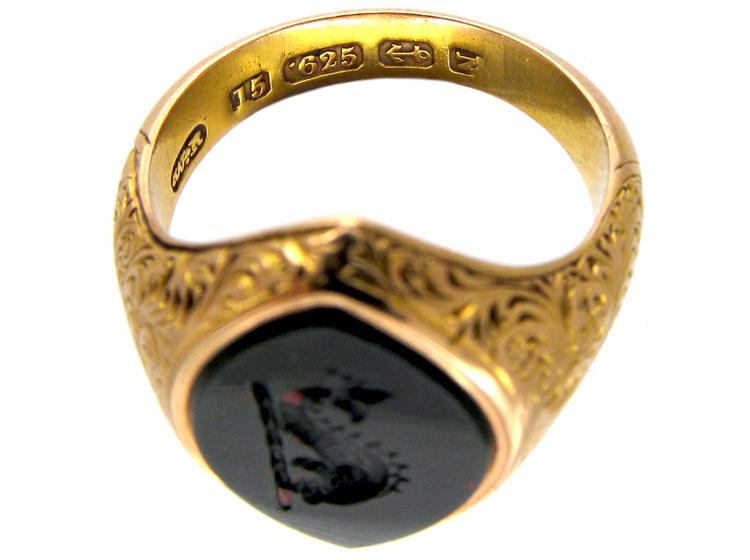 Victorian Dolphin Intaglio 15ct Gold Signet Ring