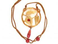 Carved Horn Art Nouveau Pendant with Ladybird