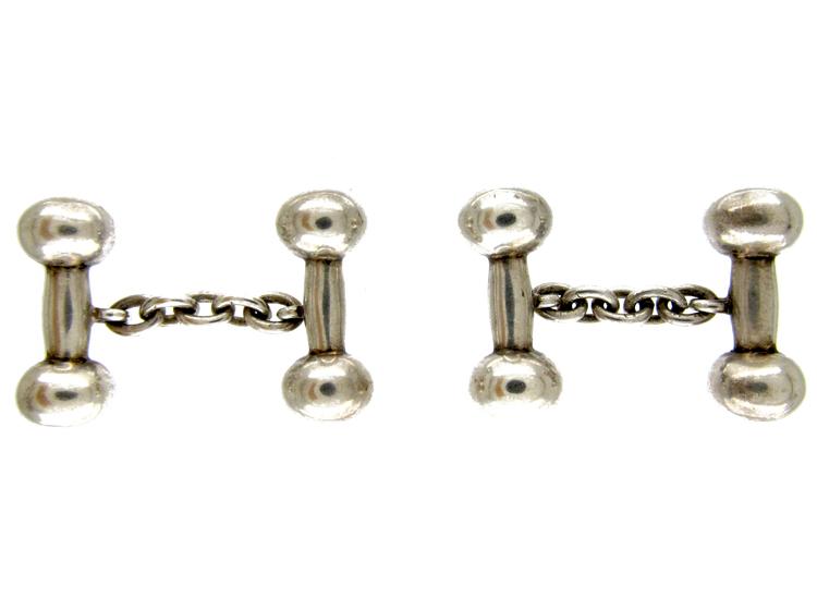 Silver Dumbbell Cufflinks