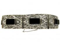 Art Deco Onyx & Paste Silver Bracelet