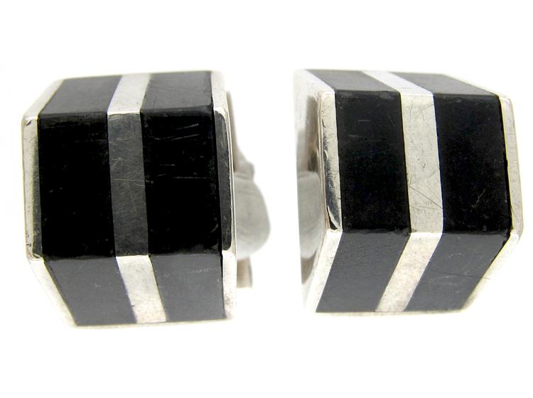 Silver & Onyx Retro Cufflinks