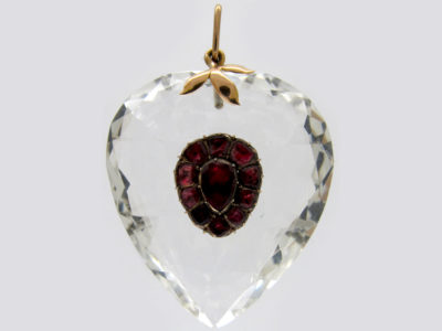 Edwardian Rock Crystal & Flat Cut Garnet Heart Pendant