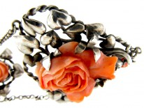 Arts & Crafts Silver & Coral Necklace