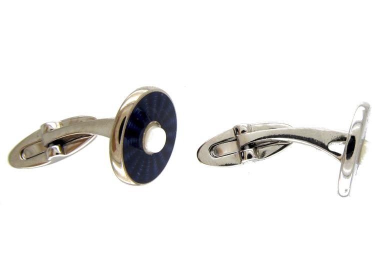 Silver Purple Enamel Cufflinks