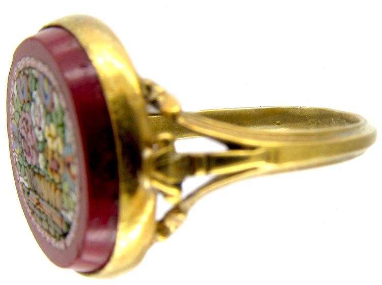 Micro Mosaic Silver Gilt Ring