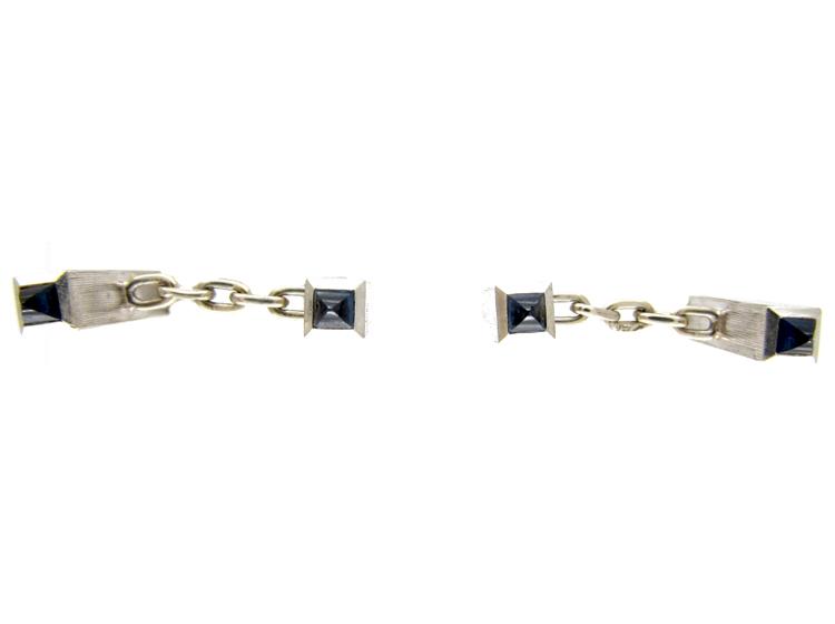 Platinum & Sapphire Baton Cufflinks