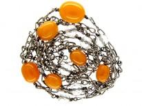 Amber & Silver Arts & Crafts Guard Chain