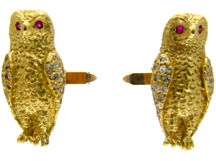 18ct Gold Owl Cufflinks