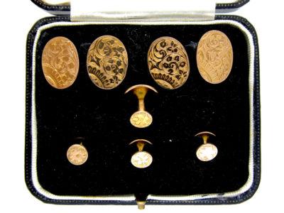 9ct Gold Edwardian Cufflinks & Studs Set