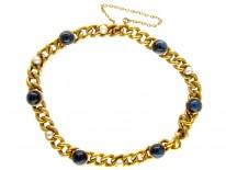 French 18ct Gold & Cabochon Sapphire Bracelet