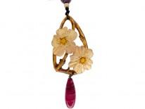 Art Nouveau Carved Horn Double Flower Pendant
