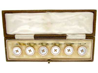 9ct Gold Set of Edwardian Buttons in Original Case