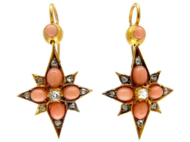 Victorian Coral & Diamond Star Drop Earrings