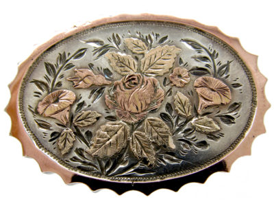 Victorian Silver & Gold Overlay Brooch of a Rose and Lilies