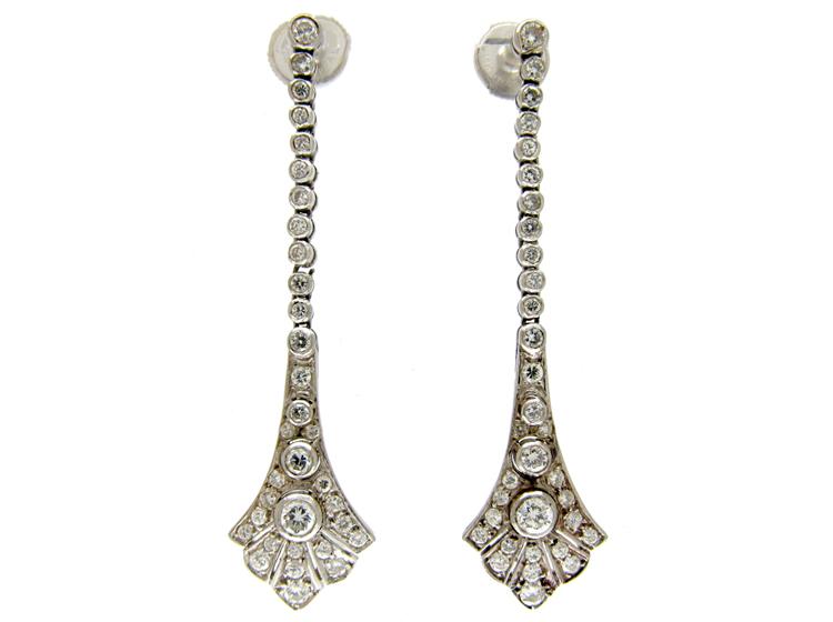Long Drop Diamond Edwardian Earrings