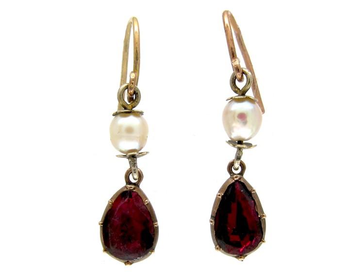 Flat Cut Garnet & Pearl Drop Earrings