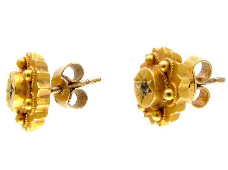 15ct Gold Victorian Round Earrings