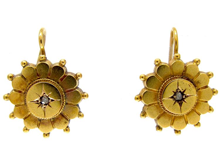 Victorian 15ct Gold Diamond Set Flower Earrings