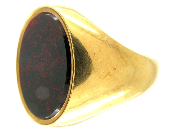 18ct Gold Bloodstone Plain Signet Ring - The Antique Jewellery Company