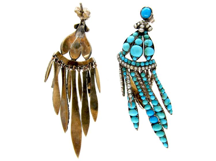 Turquoise & Pearl Fringe Drop Earrings