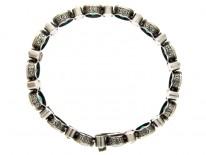Art Deco White & Green Paste Silver Bracelet