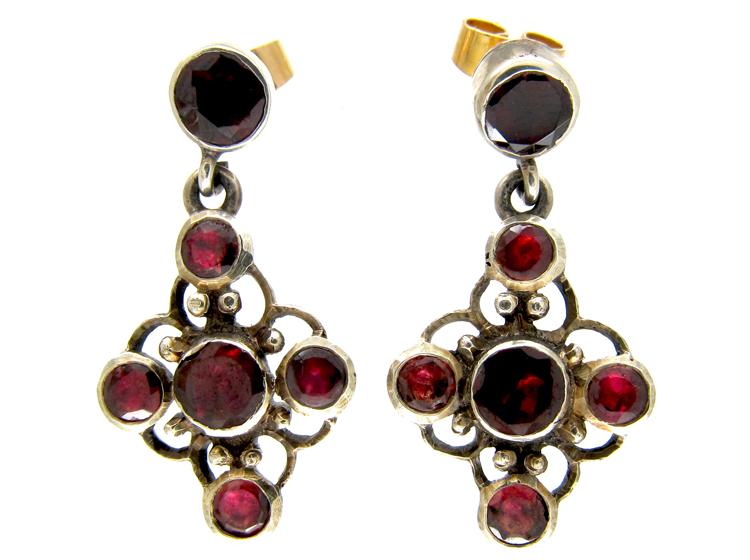 Silver Flat Cut Almandine Garnet Earrings