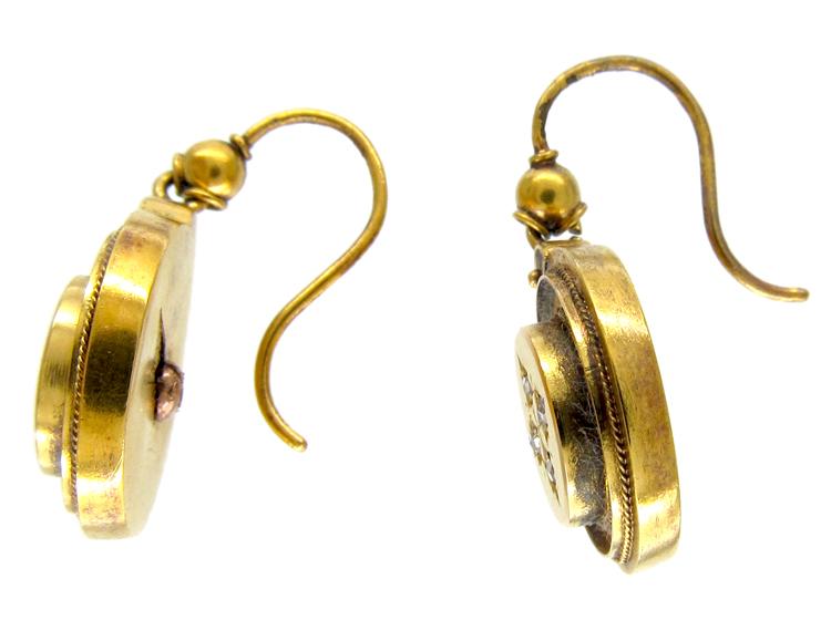 15ct Gold Victorian Diamond Set Drop Earrings