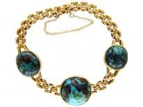 Art Nouveau Turquoise & Gold Bracelet