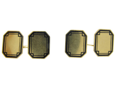 Art Deco 14ct Gold & Black Enamel Geometric Design Cufflinks