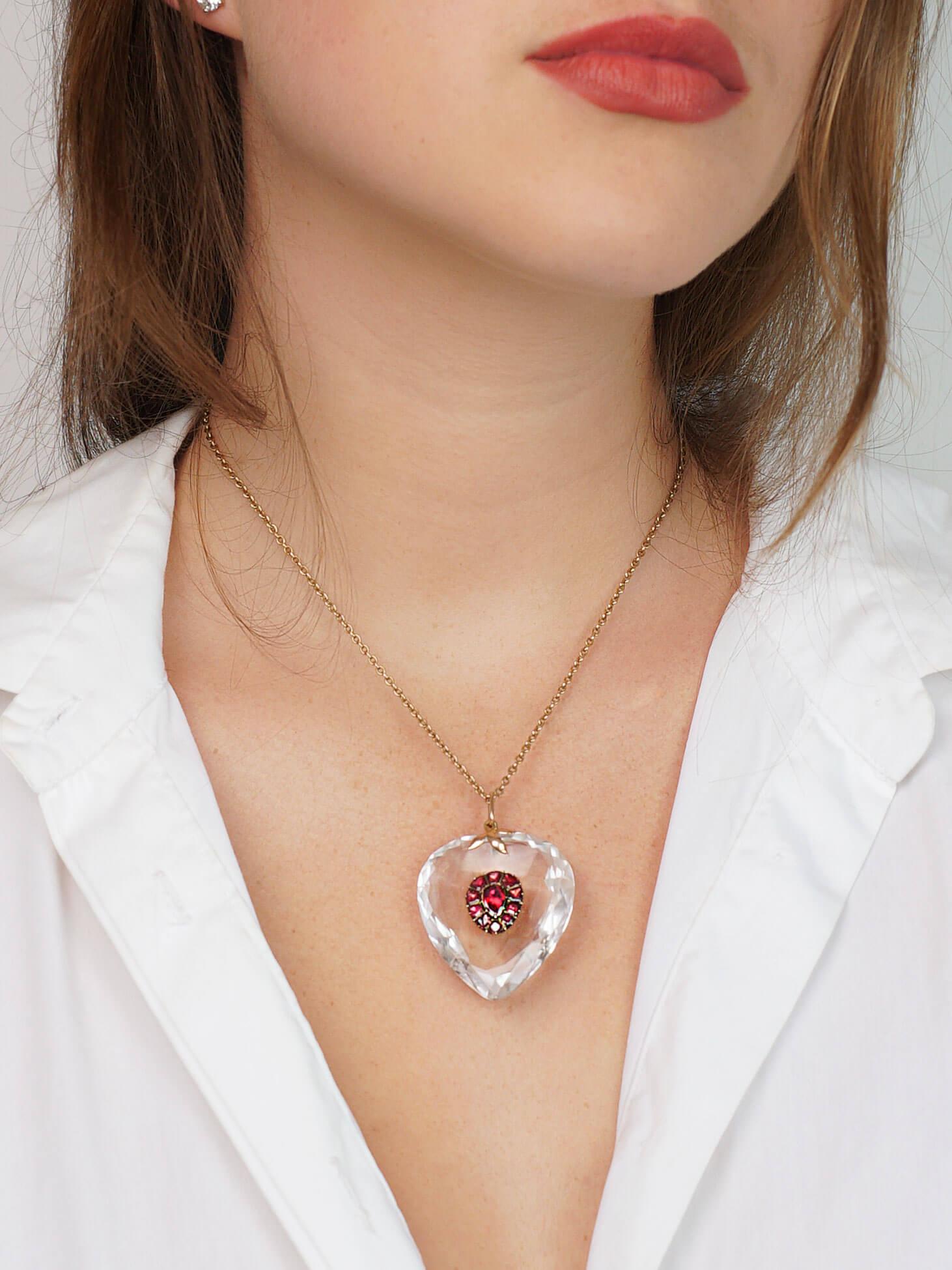 Edwardian Rock Crystal & Flat Cut Garnet Heart Pendant