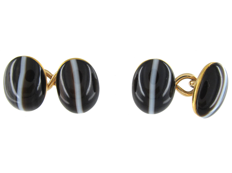 Victorian Banded Onyx 18ct Cufflinks