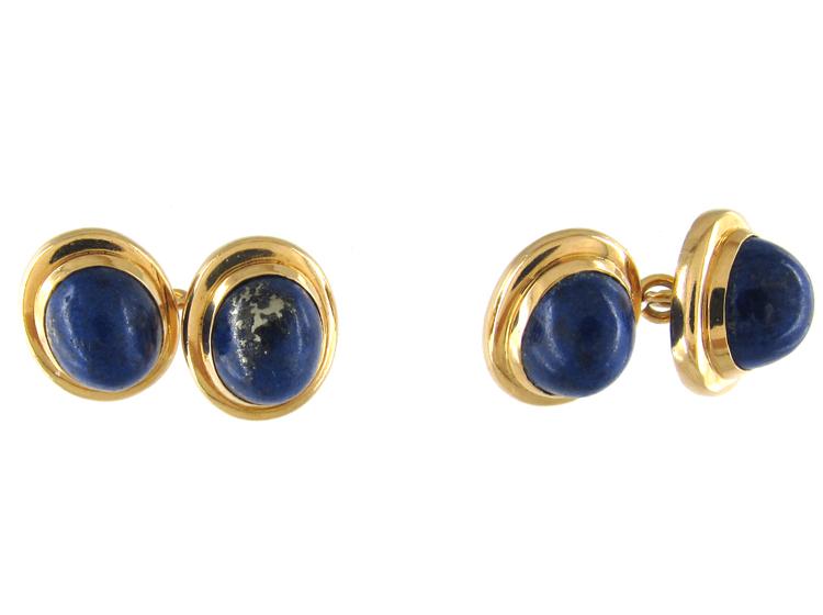 Lapis & 18ct Gold Victorian Cufflinks