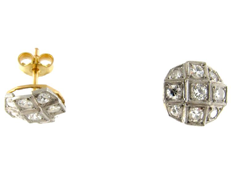 Diamond & Platinum Edwardian Round Earrings