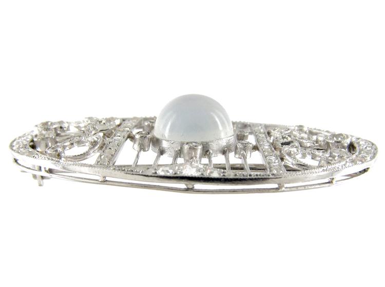Moonstone & Diamond Edwardian Oval Brooch