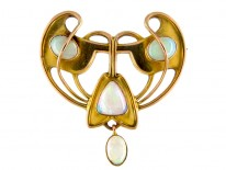 Opal 9ct Art Nouveau Brooch