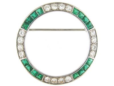 Emerald & Diamond Art Deco Circular Brooch