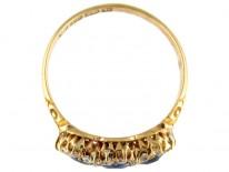 Triple Cluster Sapphire & Diamond Edwardian Ring