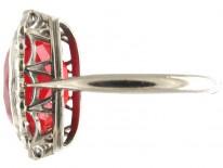 Fire Opal & Diamond Edwardian Ring