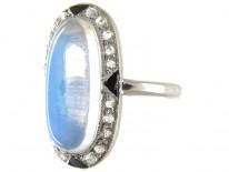 Cartier Moonstone & Diamond Deco Ring