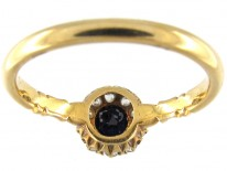 Small Sapphire & Diamond Edwardian Cluster Ring