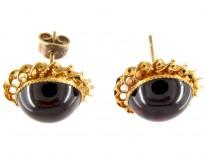 Victorian Cabochon Garnet & Gold Earrings