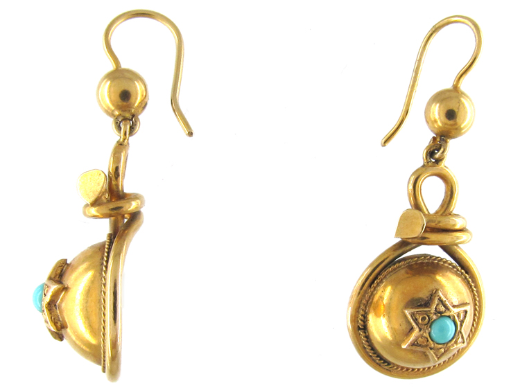 Victorian 9ct Gold & Turquoise Earrings