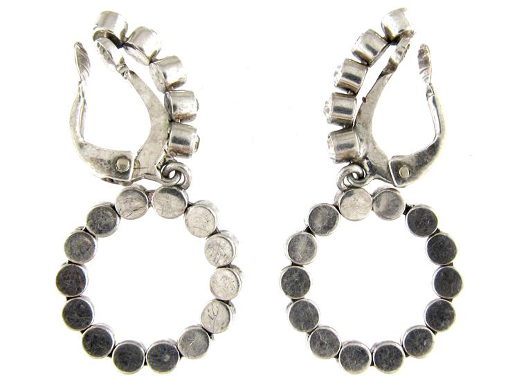 Paste & Silver Edwardian Hoop Earrings