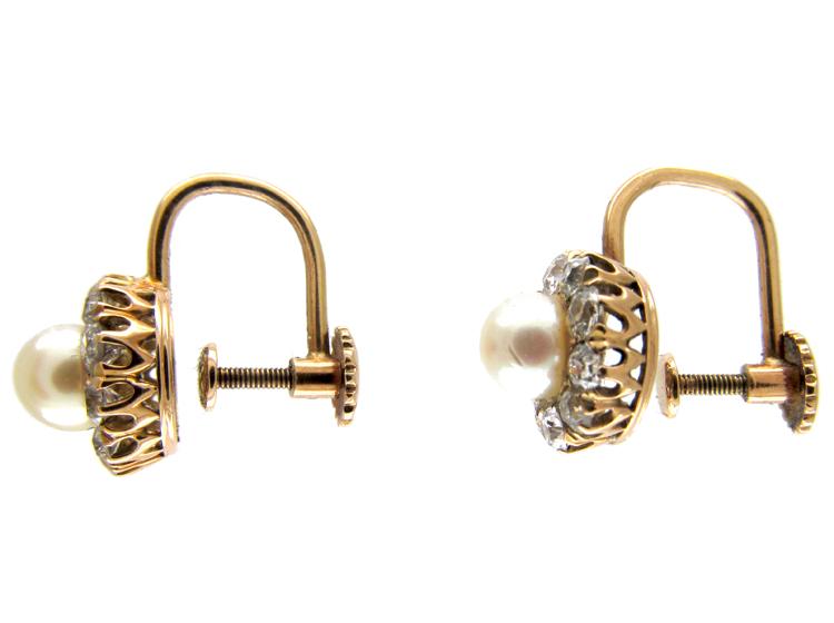 Natural Peal & Diamond Cluster Earrings