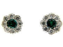Emerald Diamond Cluster Earrings