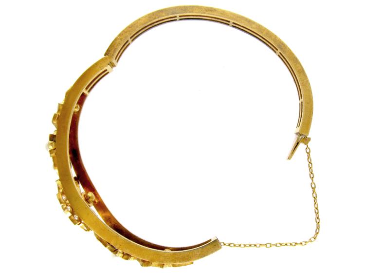 Diamond & Natural Split Pearls Bangle